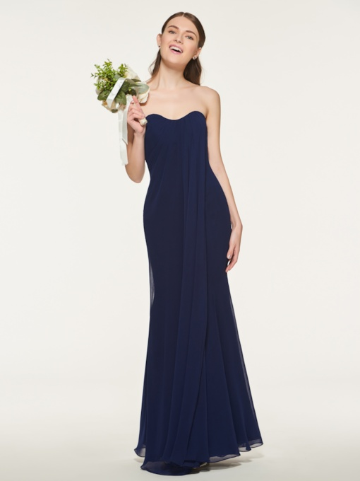 Sweetheart Sheath Long Bridesmaid Dress