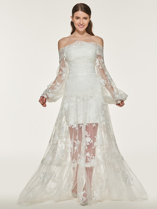 Long Sleeve Off the Shoulder Lace Wedding Dress