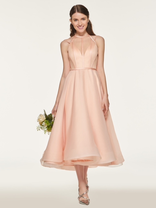 Straps A-Line Tea-Length Bridesmaid Dress