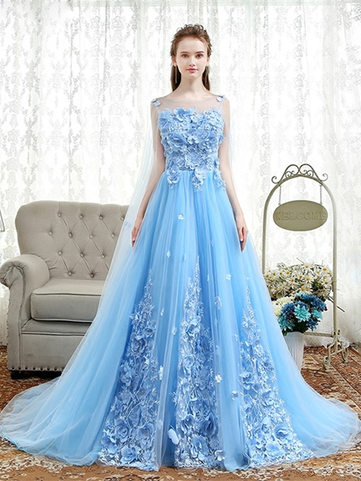 A-Line Appliques Flowers Pearls Evening Dress