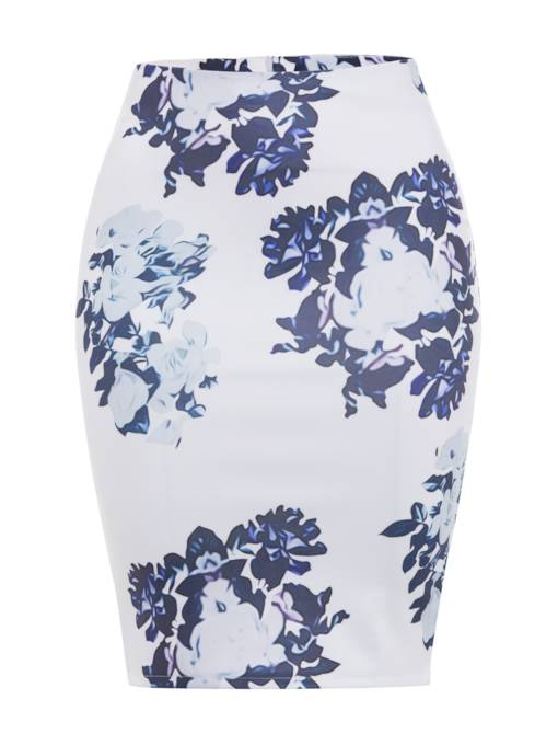 Elegant High Waist Floral Print Women's Bodycon Skirt