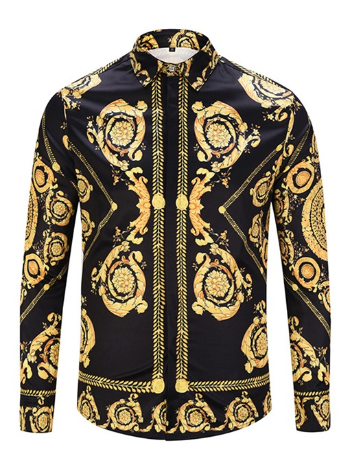 African Fashion Lapel Vintage Golden Slim Men's Luxury Shirt