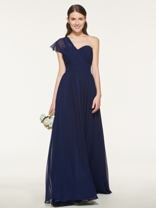 One-Shoulder Pleats Long Bridesmaid Dress