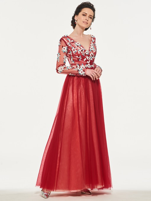 Appliques Sequins Long Sleeve Mother of the Bride Dress