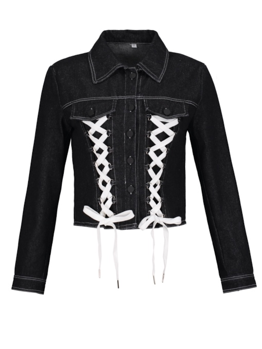 Denim Lace-Up Patchwork Pocket Women's Jacket