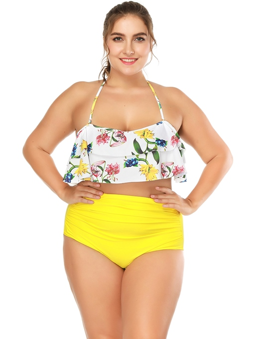 Floral Halter Top Yellow High Waist Bottom Plus Size Tankini Set