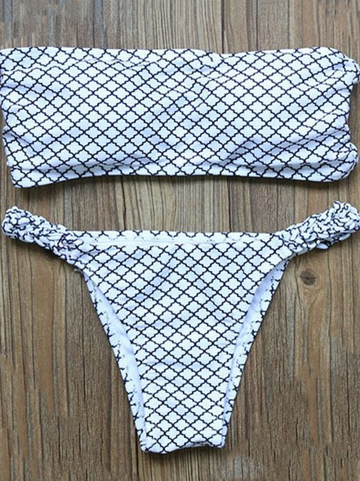 Plaid Bandeau Triangle Women's Bikini Set