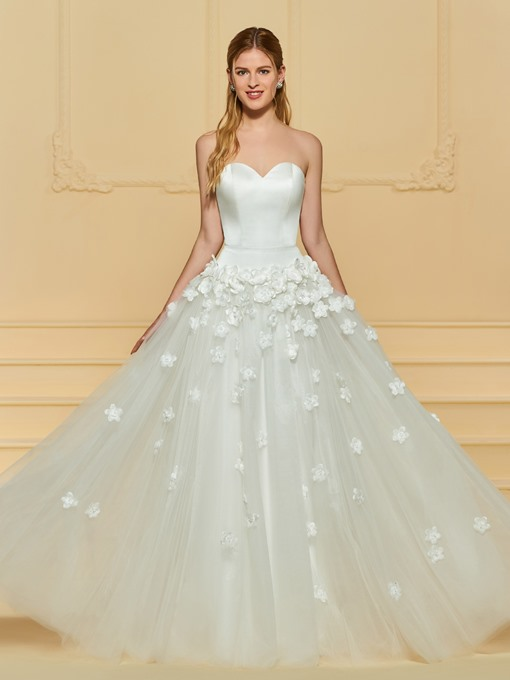 Strapless 3D Floral Appliques Garden Wedding Dress