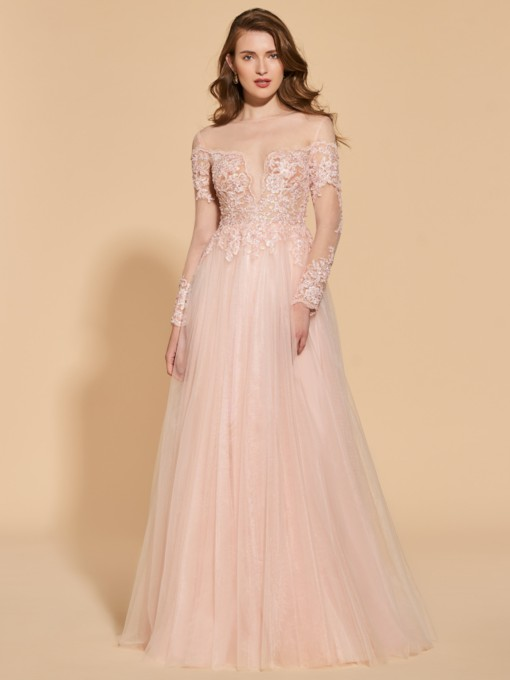 A-Line Beading Button Lace Evening Dress