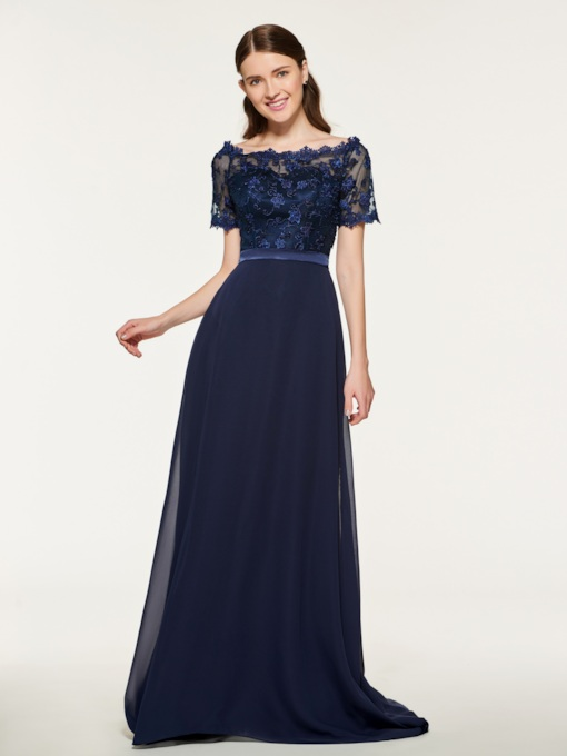 Short Sleeves Appliques Bridesmaid Dress