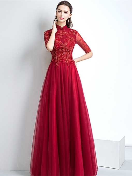 High Neck Appliques Half Sleeves Evening Dress