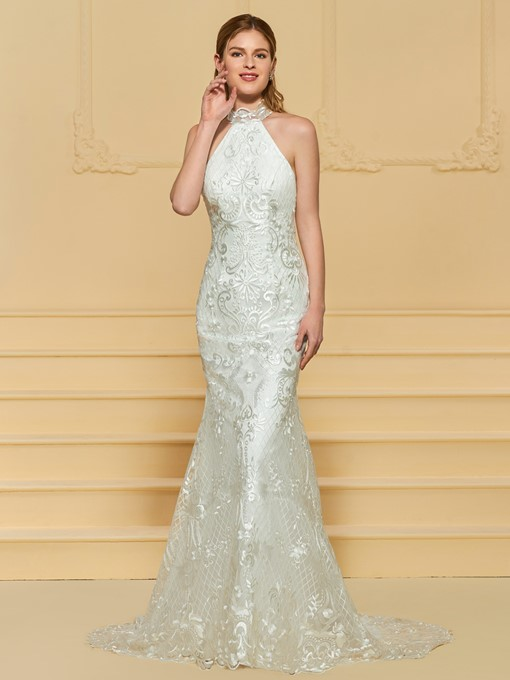 Halter Mermaid Lace Wedding Dress