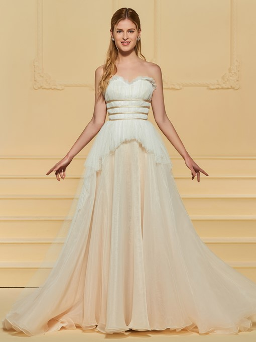 Ruffles Strapless Tiered Wedding Dress