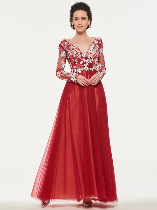 Long Sleeve Appliques Sequins Mother of the Bride Dress