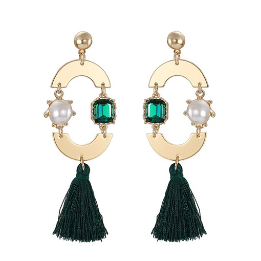 Semicircle Synthetic Stones Tassel Earrings