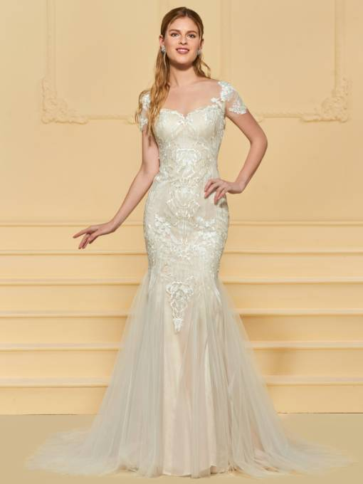 Illusion Back Mermaid Lace Wedding Dress with Sleeve