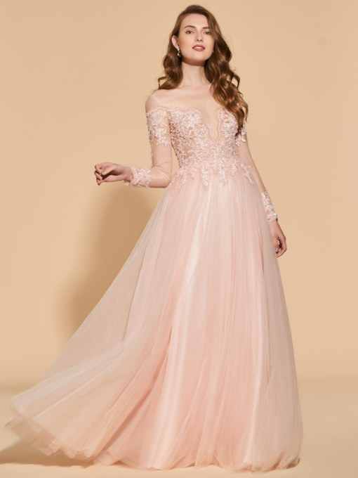 Illusion Neck Beading Button Long Sleeves Evening Dress