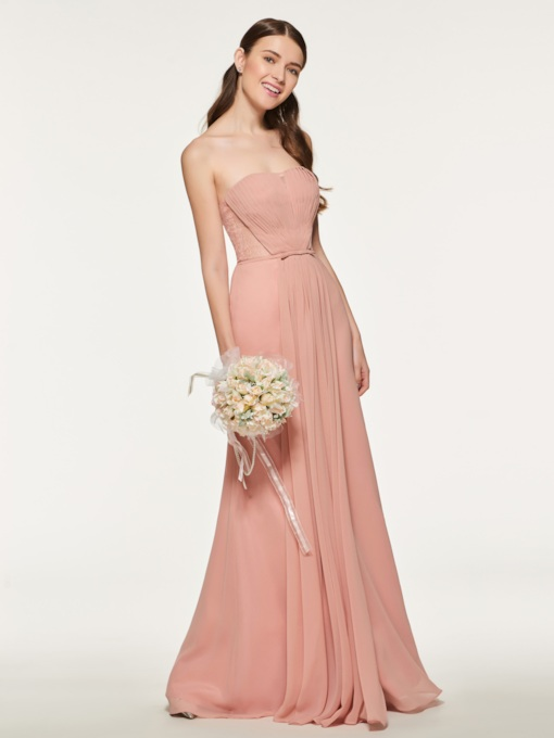 Strapless Button Lace Pleats Bridesmaid Dress