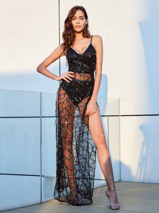 Black Strappy Lace Patchwork Women's Sexy Dress