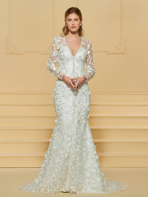 Long Sleeve Pearls Mermaid Lace Wedding Dress