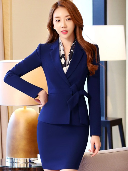Plain Bodycon Lace-Up Women's Suit