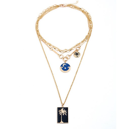 Oil Drip Rectangle Round Multilayer Necklace