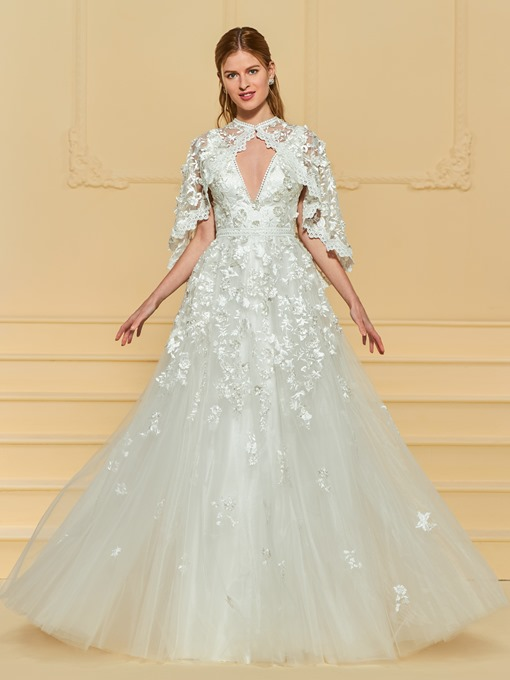 V-Neck Lace Appliques Wedding Dress with Cape