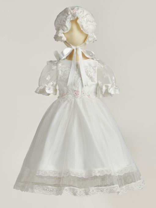 Baby Girls Bonnet Christening Gown for Baptism