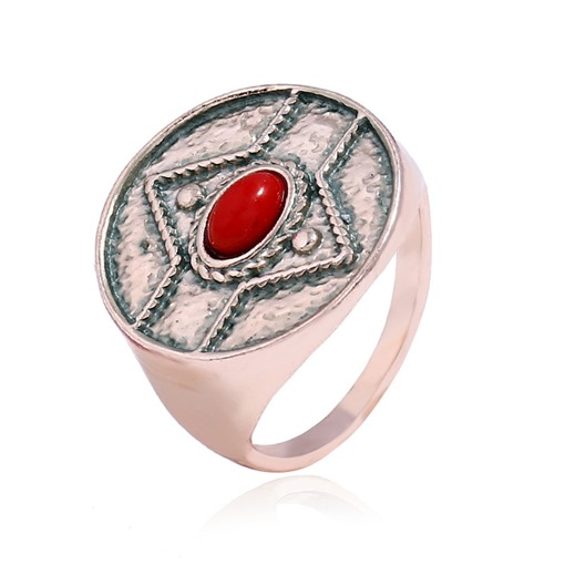 Metal Synthetic Stones Retro Ring