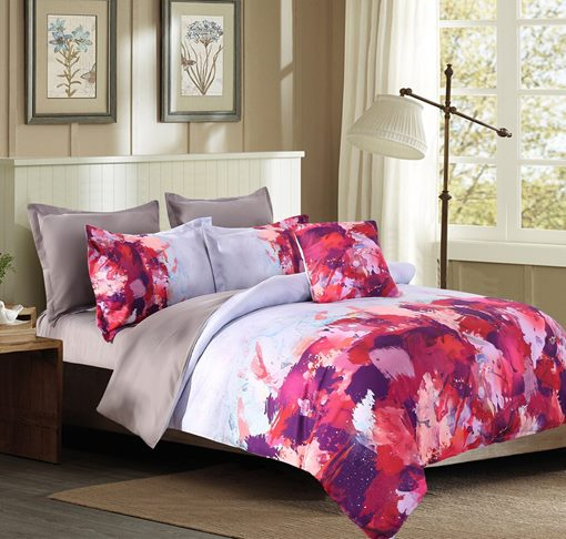Abstract Scrawl Purple White Red Pattern 4-Piece Polyester Bedding Sets/Duvet Cover