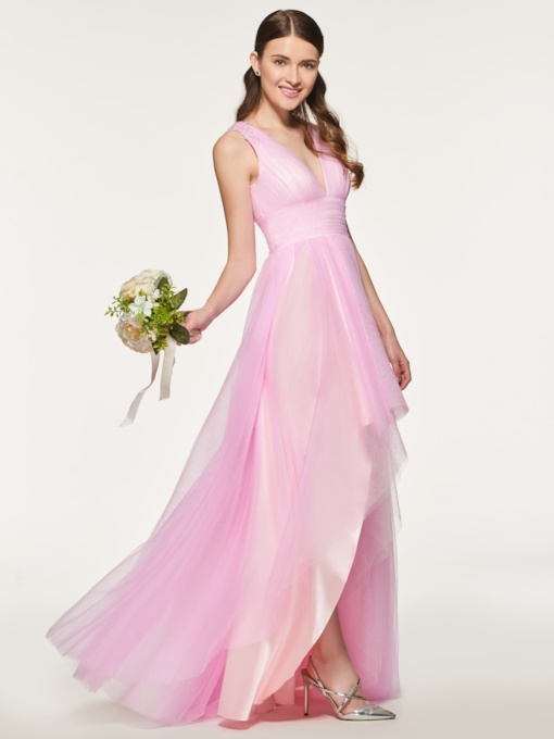 Straps Beading Asymmetrical Bridesmaid Dress
