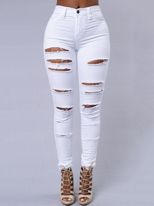 Plain Patchwork Pencil Pants Slim Women's Jeans