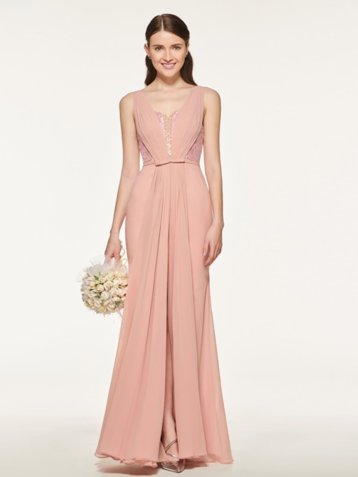 Beading Straps Lace Sheath Bridesmaid Dress