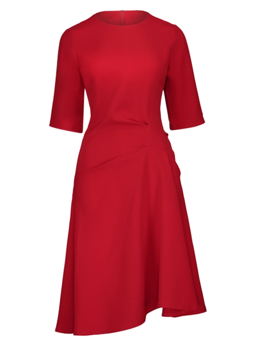 Red Half Sleeve Asym Women's Day Dress