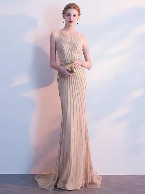 Trumpet Beading Jewel Evening Dress