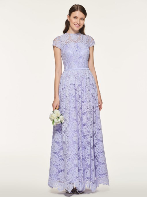Cap Sleeve Ankle-Length Lace Bridesmaid Dress
