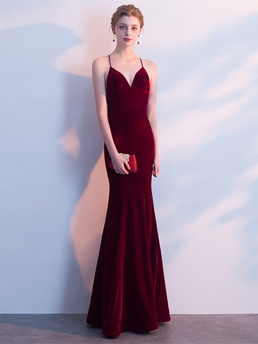 Trumpet Velvet Halter Evening Dress