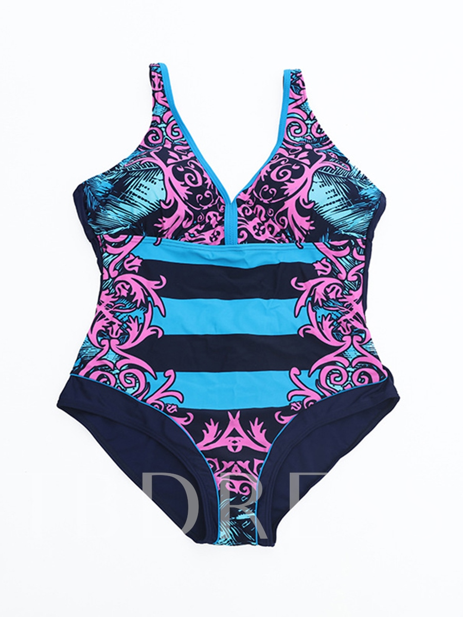 Striped Printed Adjustable Strap Backless Women's Plus Size One-Piece Swimsuit