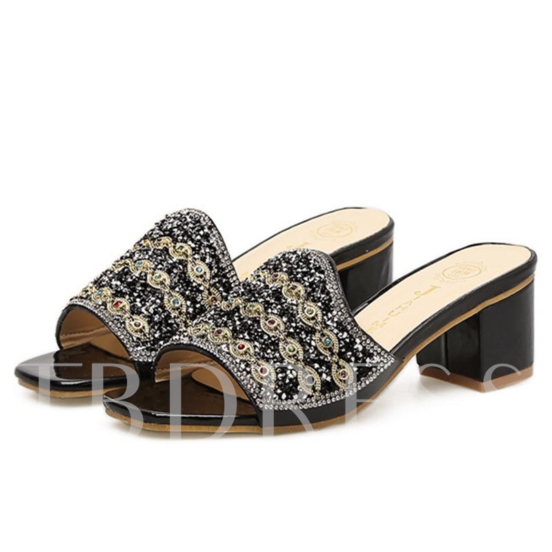 Buy Thick Heel Sequins Rhinestone Women's Flip Flop, Spring,Summer, 13168160 for $30.99 in TBDress store