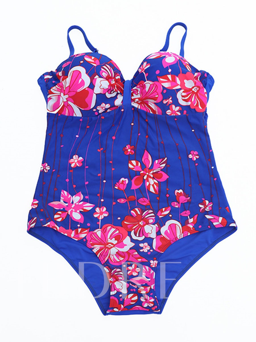 Floral Printing Pleated Adjustable Strap Women's Plus Size One-Piece Swimsuit