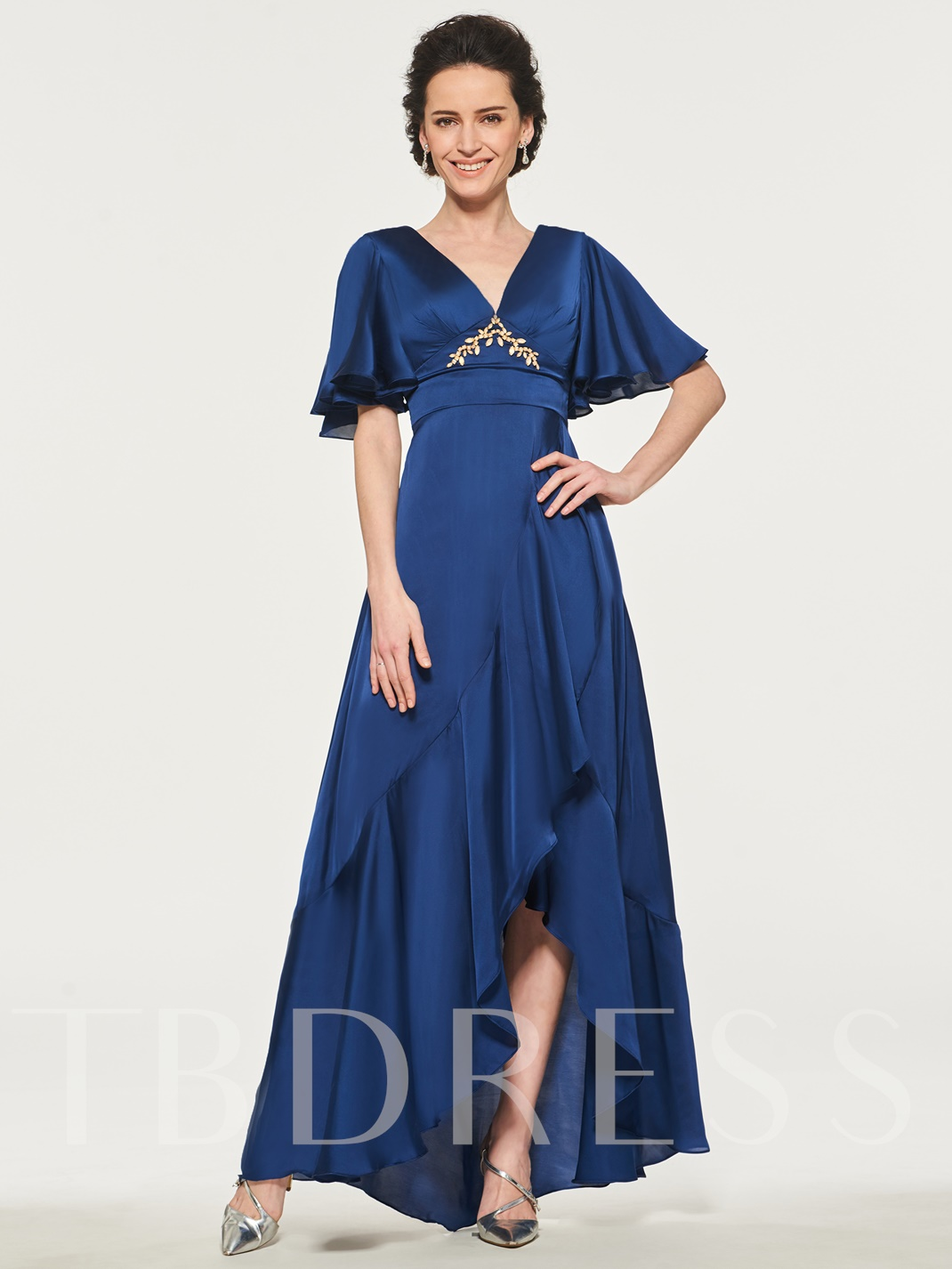 Empire Waist Beading Asymmetrical Mother of the Bride Dress