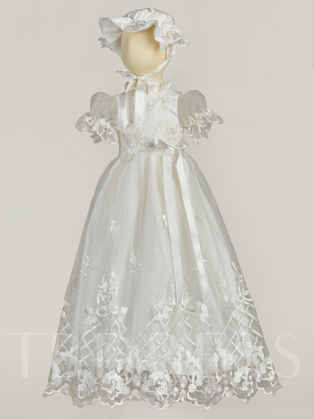 Baby-Girl's Christening Baptism Dress with Bonnet