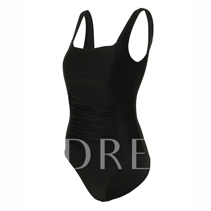 ff03a32fd6146 Simple Pleated Square Neck One-Piece Swimwear - Tbdress.com