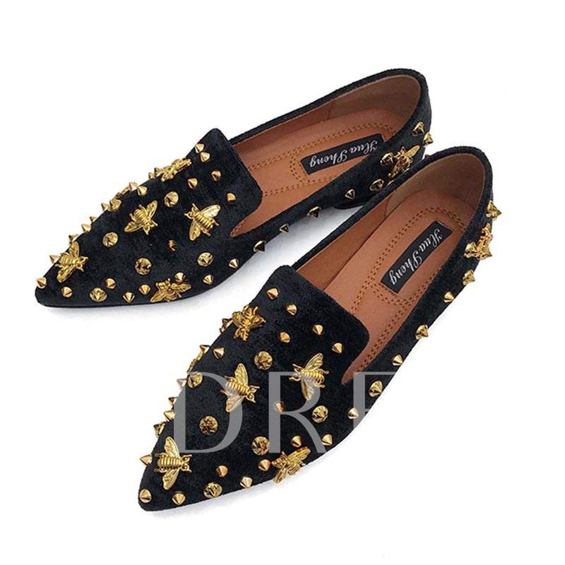Bee Studded Pointed Toe Women's Slip On Flats