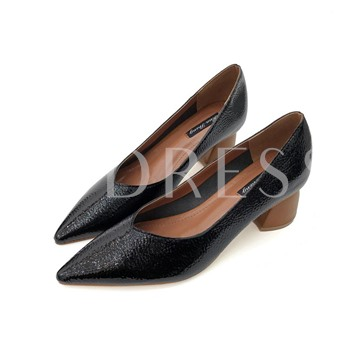 Chunky Heel V-Collar Elegant Pumps for Women