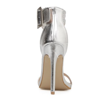 Silver Line Buckle Heigh With Sandals Dress Shoes