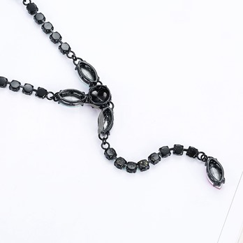Alloy Rhinestone Reshin Pendant Necklace