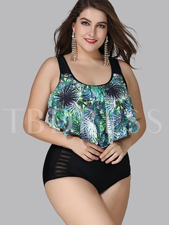 Tropical Floral Print Falbala Women's Plus Size Tankini Set
