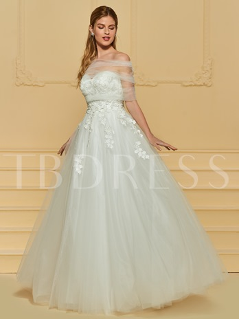 Strapless Lace Appliques Wedding Dress with Shawl
