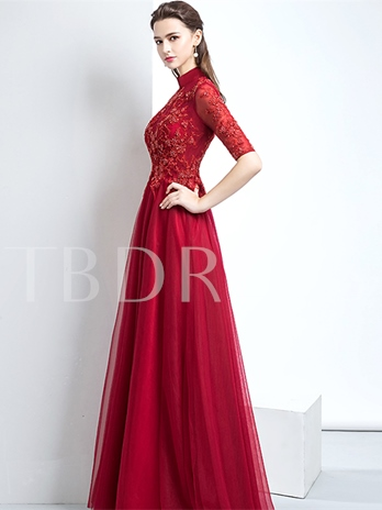 A-Line High Neck Appliques Beading Pearl Evening Dress